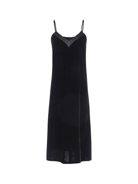 EI8HTDREAMS Silk Contrast Velvet Midi Dress