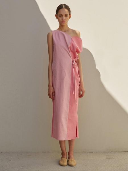 ECOMMAE Tulip Linen Dress - Pink