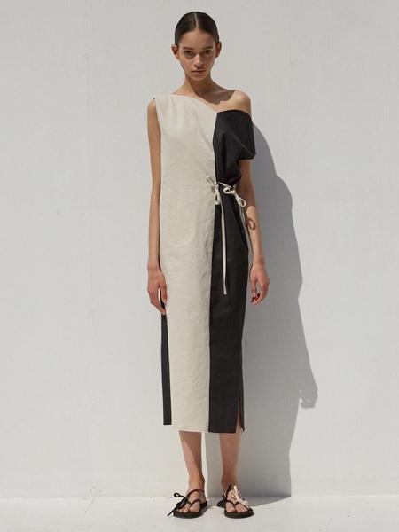 Ecommae Tulip Linen Dress - Beige/Black