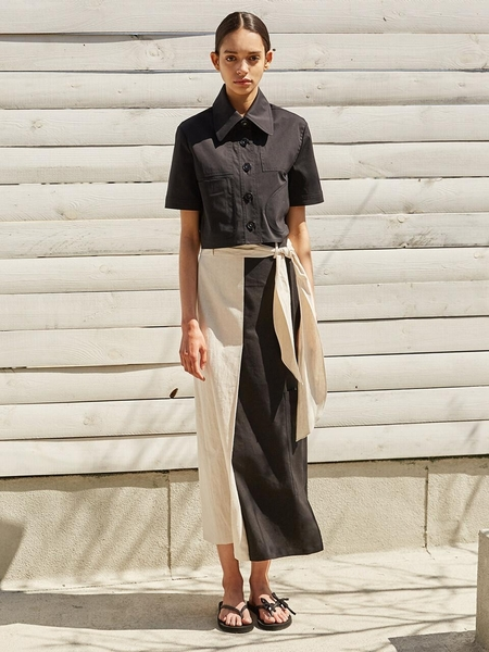 Ecommae Linen Scarf Long Skirt - Beige/Black