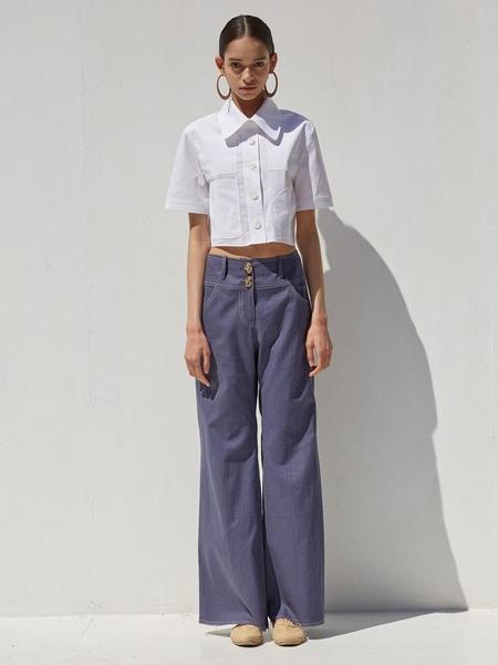 Ecommae Comfortable Linen Wide Pants - Denim Blue