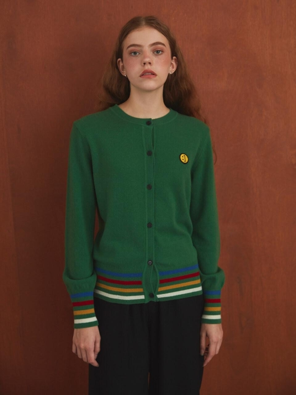 MSKN2ND Sm:]e Patch Female Cardigan - Dark Green