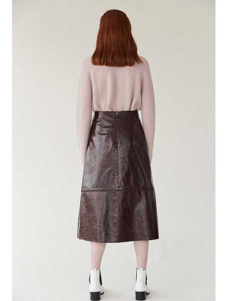 Mijeong Park Patent Faux Leather Skirt - Wine