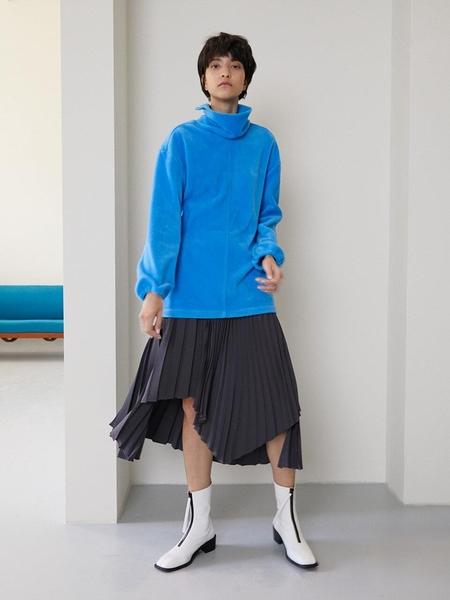 MAISON MARAIS Unbalanced Pleated Skirt - Gray