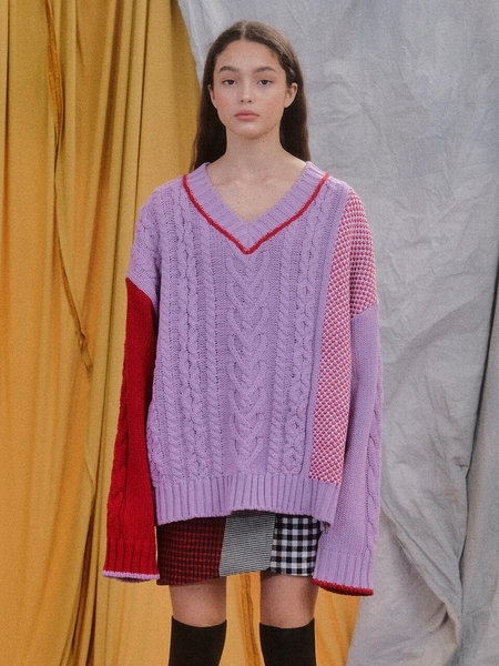 EYEYE Heart Cable Color Combination Knit Top - Pink