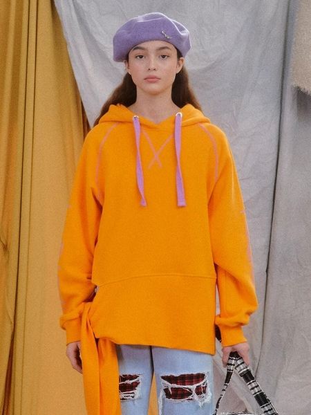 EYEYE Hem Tie Cotton Fleece Lined Hoodie - Orange