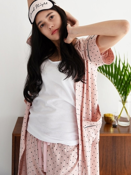 ADD ROBE Pajama Long Robe - Pink Dots