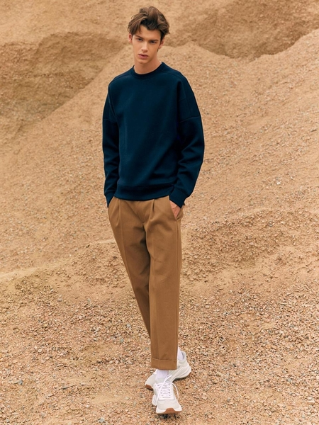 FRONTROW Double Pleated Italian Cotton Baggy Trousers - Camel