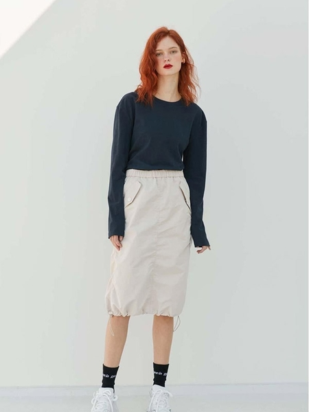 TELL THE TRUTH Shirring Skirt - Beige