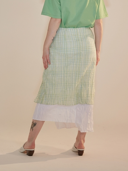 AEER Inner Layered Skirt - Wind Green Check