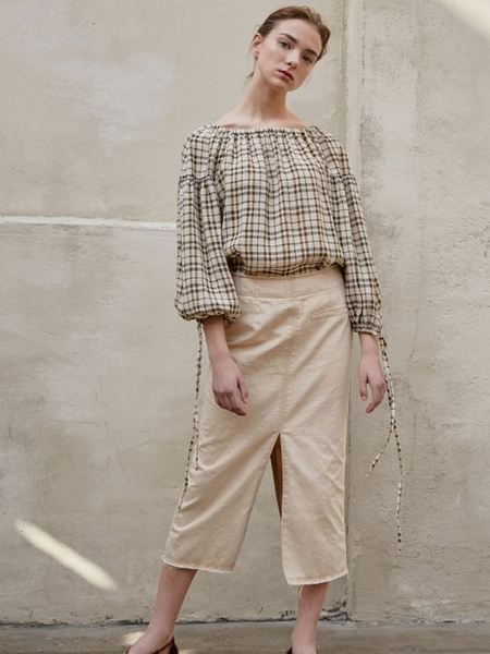 Aeer Button Back Blouse - Khaki Check