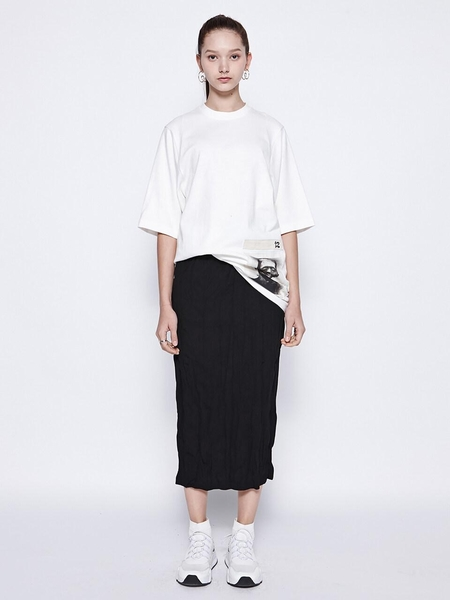 DBYDGNAK Washing Pleats Long Skirt - Black
