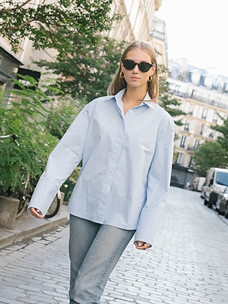 AND YOU Louvre Oversize Shirt - Light Blue