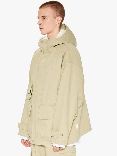 LIFUL MINIMAL GARMENTS. Hooded Wide Jacket - Ash Khaki