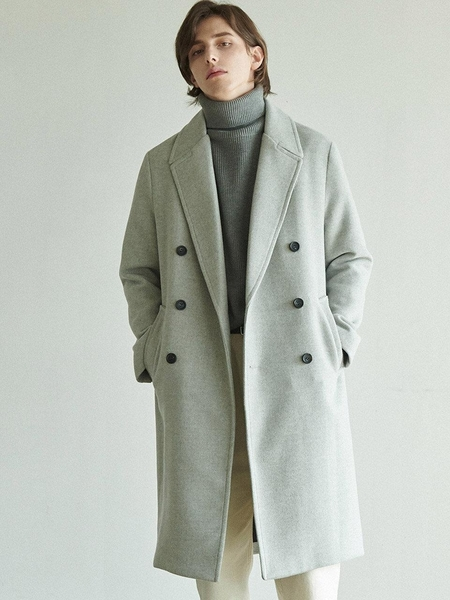 Anoutfit Solid Erbe Double Coat - Grey