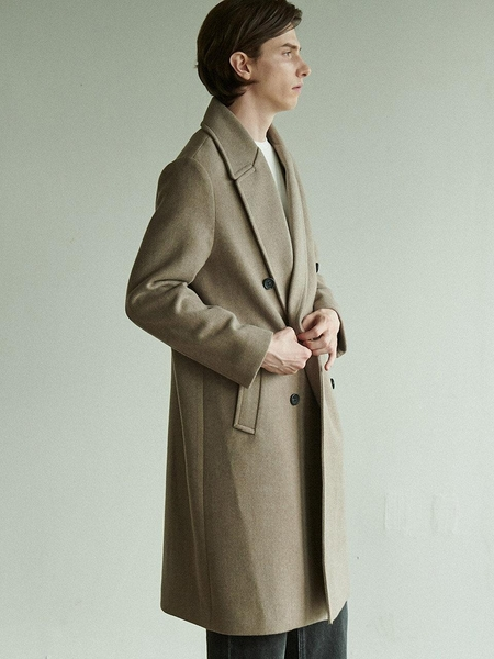 Anoutfit Solid Erbe Double Coat - Brown