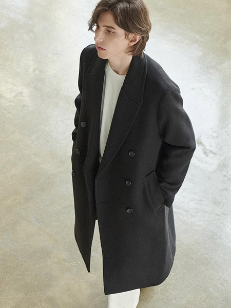 Anoutfit Solid Erbe Double Coat - Black