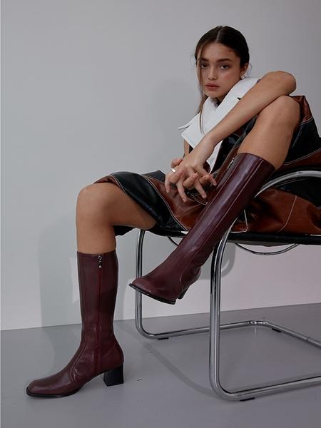 MENODEMOSSO Oblique Long Boots - Wine