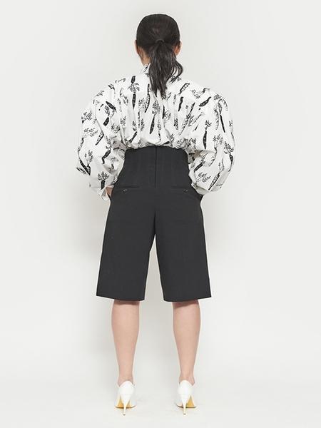PUSHBUTTON Bustier Detail Half Shorts - Black