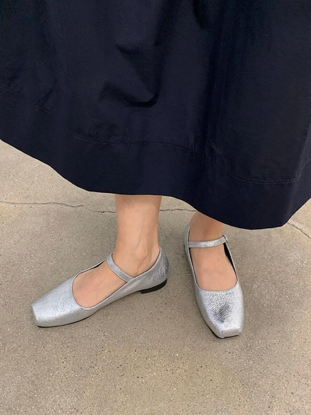 FLAT APARTMENT CIRCLE Mary Janes Ballet Shoes - Broken Silver
