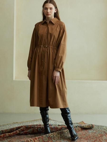 LOOKAST String Shirt Dress - Beige