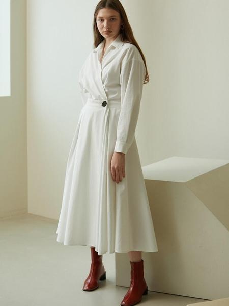 LOOKAST Shirt Wrap Long Dress - White