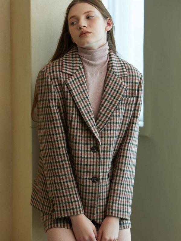 LOOKAST Gingham Check Single Fit Wool Jacket - Pink