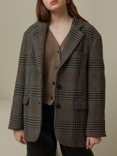 LOOKAST Over Fit Single Wool Jacket - Brown Check