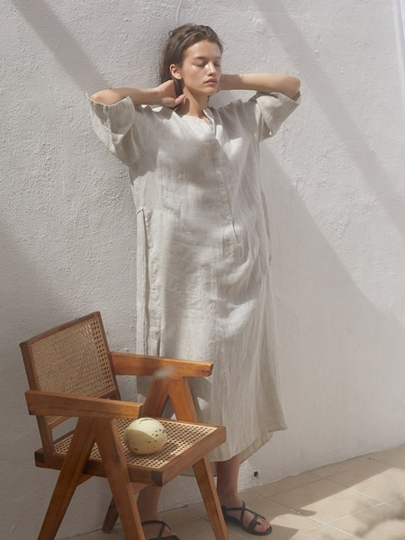 H8 Forte Linen Dress - Oatmeal