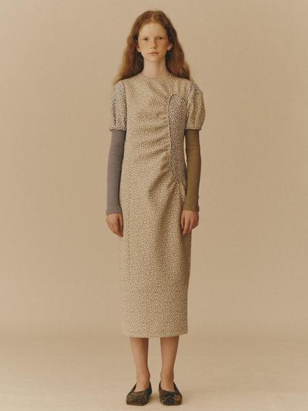 WNDERKAMMER Petite Floral Jacquard Dress - Light Khaki
