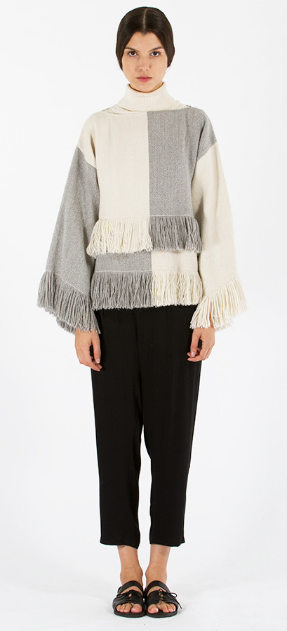 Voz Fringe Top Colorblock