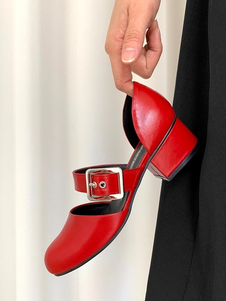 FLAT APARTMENT CIRCLE Almond Mary-Jane Sandals - Red