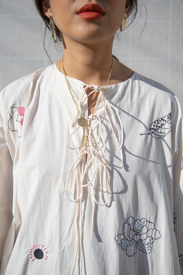 Mr. Larkin Short Nadine Tie Dress Embroidery