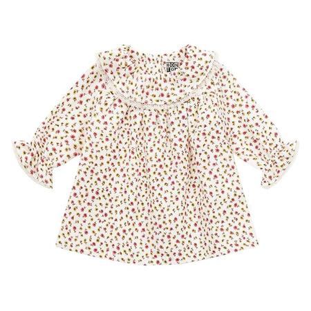 kids Bonton Sparkle Long Sleeved Dress - Latte Cream/Floral Print