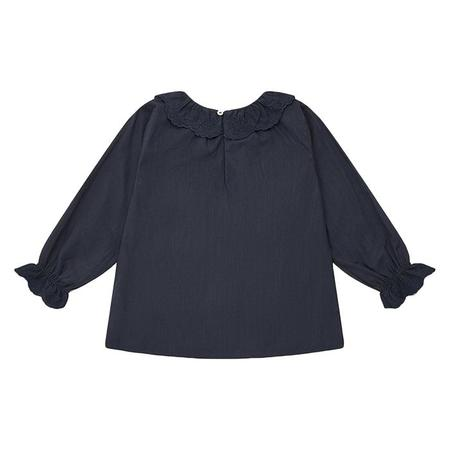 kids Bonton Sourire Long Sleeved Shirt With Ruffled Collar - Mist Grey