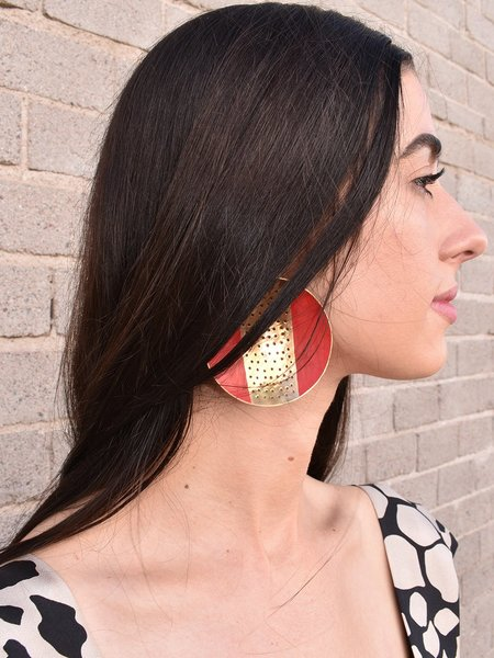 Merryn Omotayo Alaka Boubacar Doumbia Earrings - Red/Brass