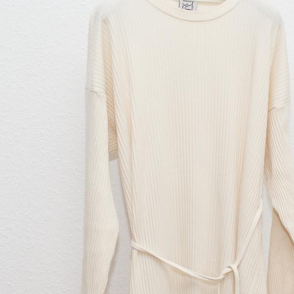 Baserange Fleece RIB Shaw Long Sleeve Kaftan - Off White