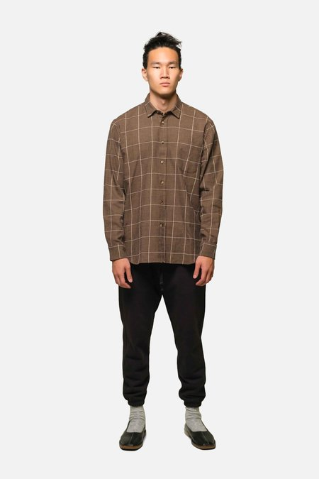 House of St. Clair 1905 SHIRT - COFFEE WINDOWPANE PLAID