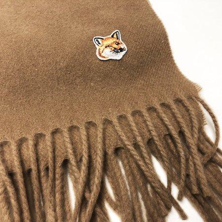 Kitsune Small Fox Head Wool Scarf - Beige