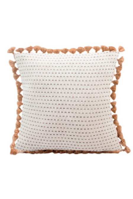 Lula Mena Handwoven Tassel Pillow - Neutral