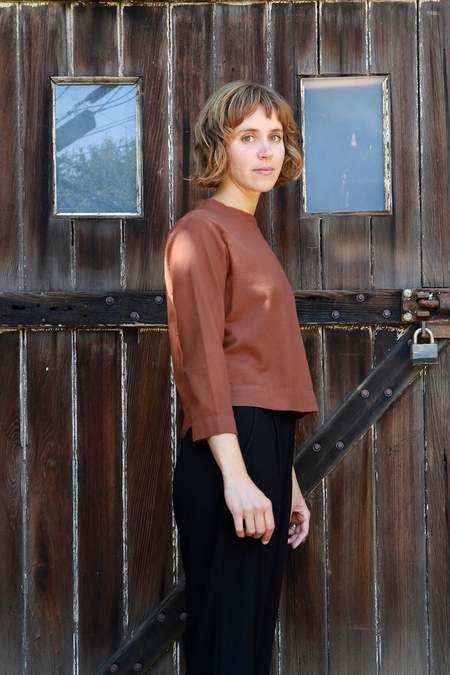 Me & Arrow Crew Neck Pullover - Brick Brown Flannel