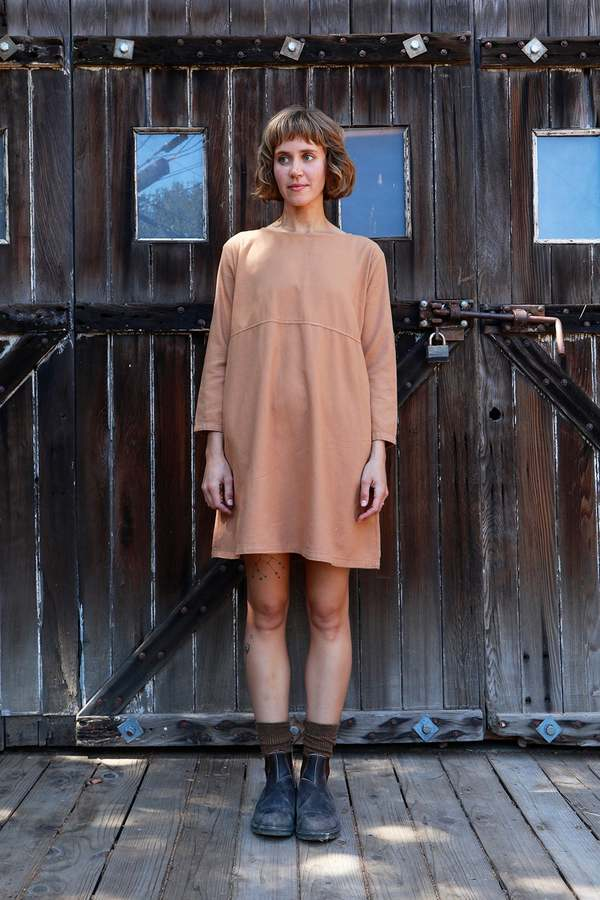 Me & Arrow Basic Dress - Saddle Tan Flannel