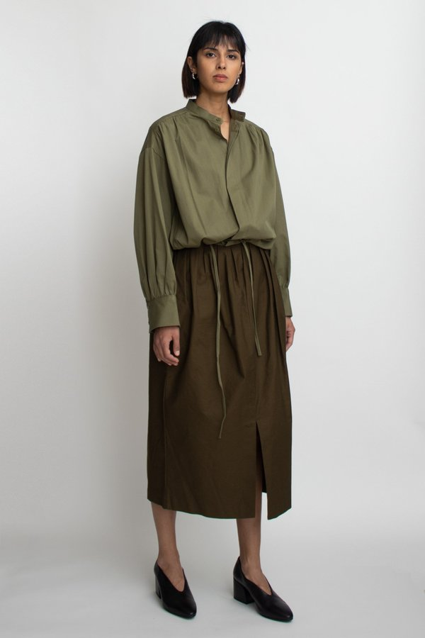 W A N T S Cotton Slit Midi Skirt - Olive