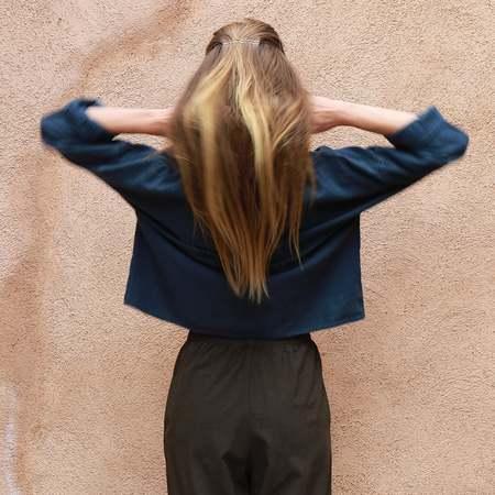 Me & Arrow Drop Shoulder Pullover - Navy Blue