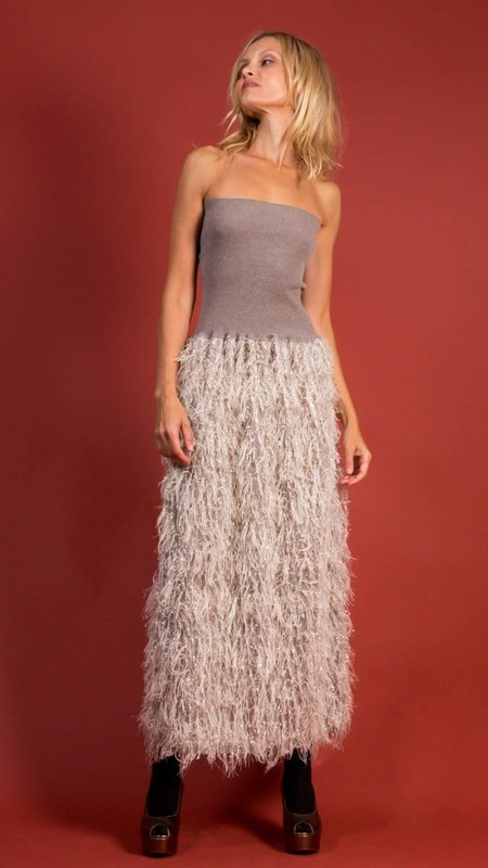 D.Exterior Long Sequin and Feather Dress - Resina