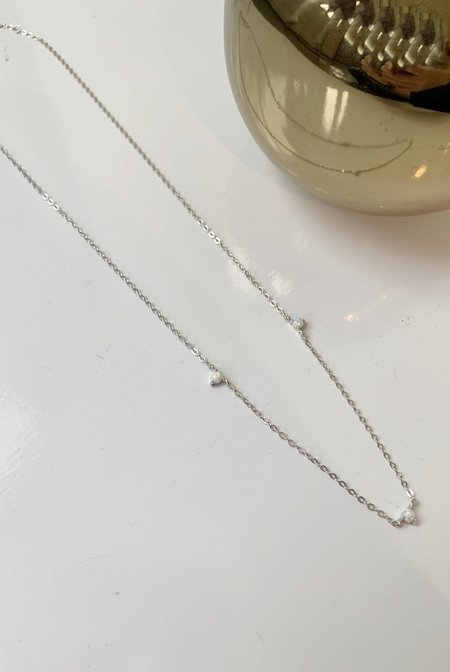 Katie Diamond Opal Station Necklace - Sterling Silver