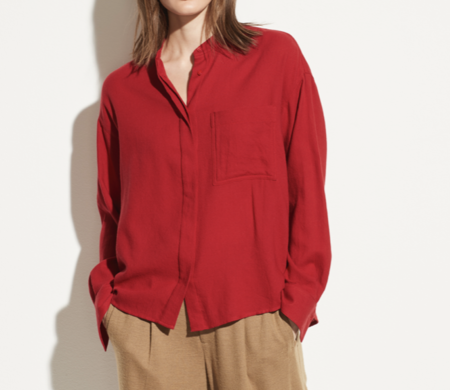 VINCE Band Collar Button Down - Cherry Rust