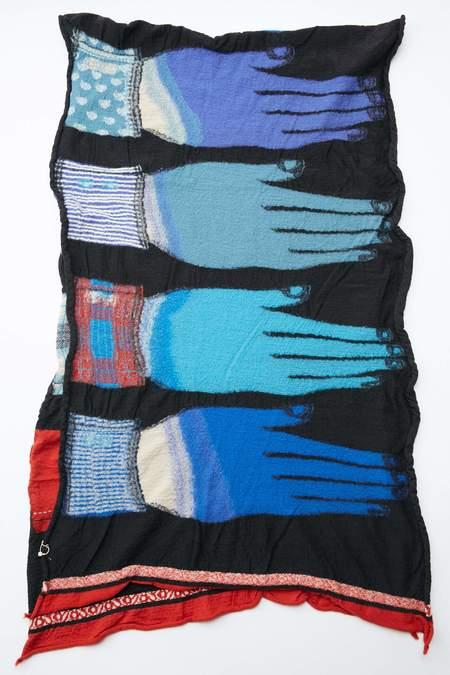 Kapital Compressed Wool Scarf - Blue Hands