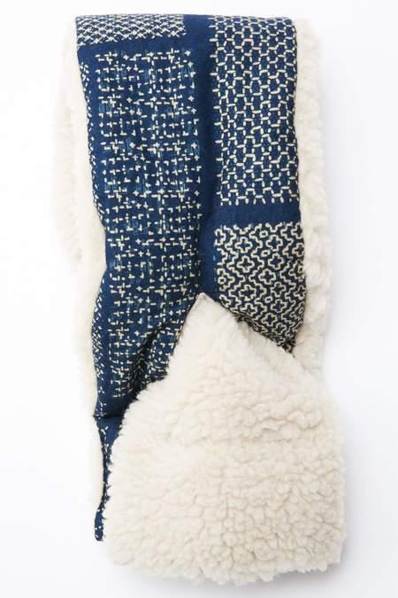 Kapital IDG Flannel Sashiko Dye x Boa Fleece Kesa Scarf - Blue
