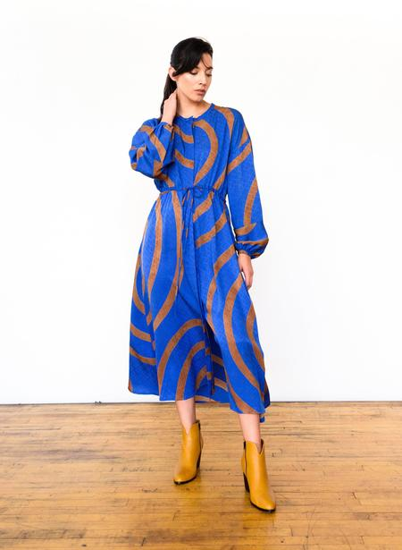 Seek Collective echo print Julia Dress - sapphire/camel